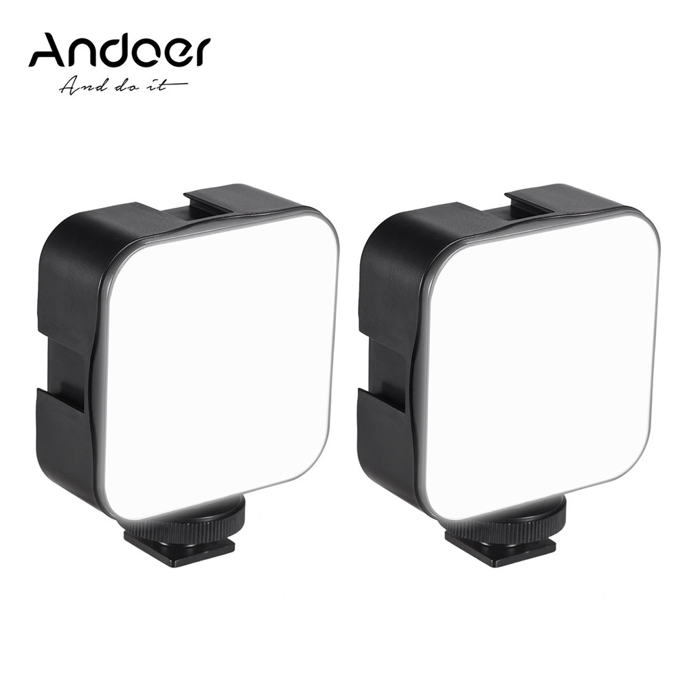 Andoer Mini LED Video Light Photography Fill-in Lamp 6500K Dimmable 5W with Cold Shoe Mount Adapter for Canon Nikon Sony DSLR Camera