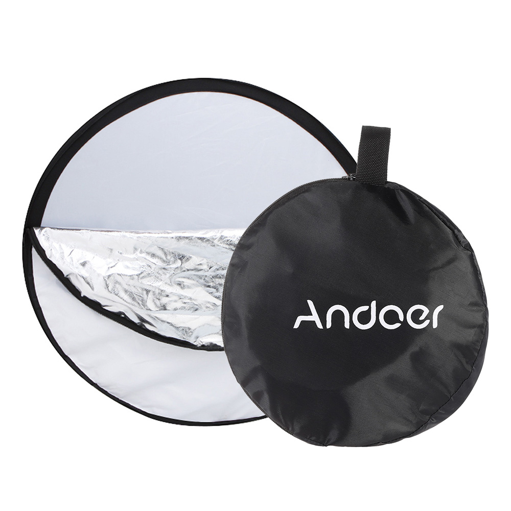 43 110cm 2-in-1 Light Multi Collapsible Disc hotography Reflector Silver//White