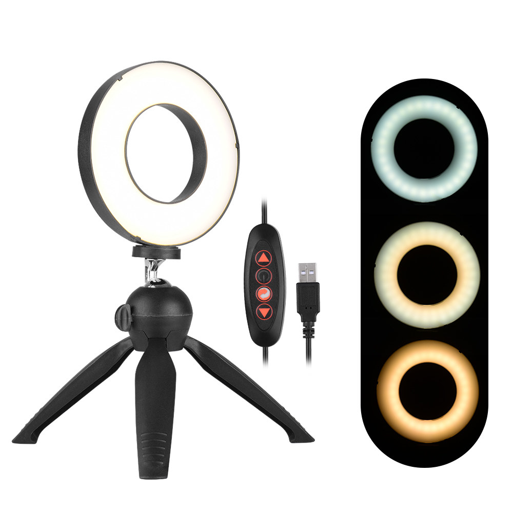 4.6 inch USB 3 Modes Dimmable LED Ring On-Camera Video Lights with Cold Shoe Tripod Ball Head Durable