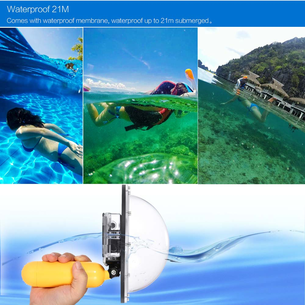 Telesin Upgrade Advanced Aluminum Alloy Dome Port Accessory For Underwater Clear Photography Xiaomi Yi Diving Camera Sports Action Cam Waterproof 21m With Floaty