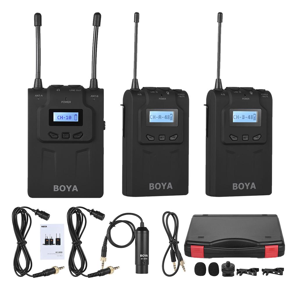 Boya By Wm8 Pro Clip On Uhf Dual Channel Wireless Mic Microphone