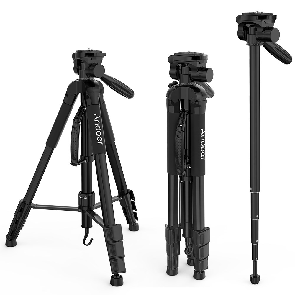 ... 176cm Portable Tripod Aluminium Alloy Camera Tripod with Monopod and 3-Way Swive Pan Tilt Head Mobile Phone Holder for SLR DSLR Camera,Black 1/4 Screw
