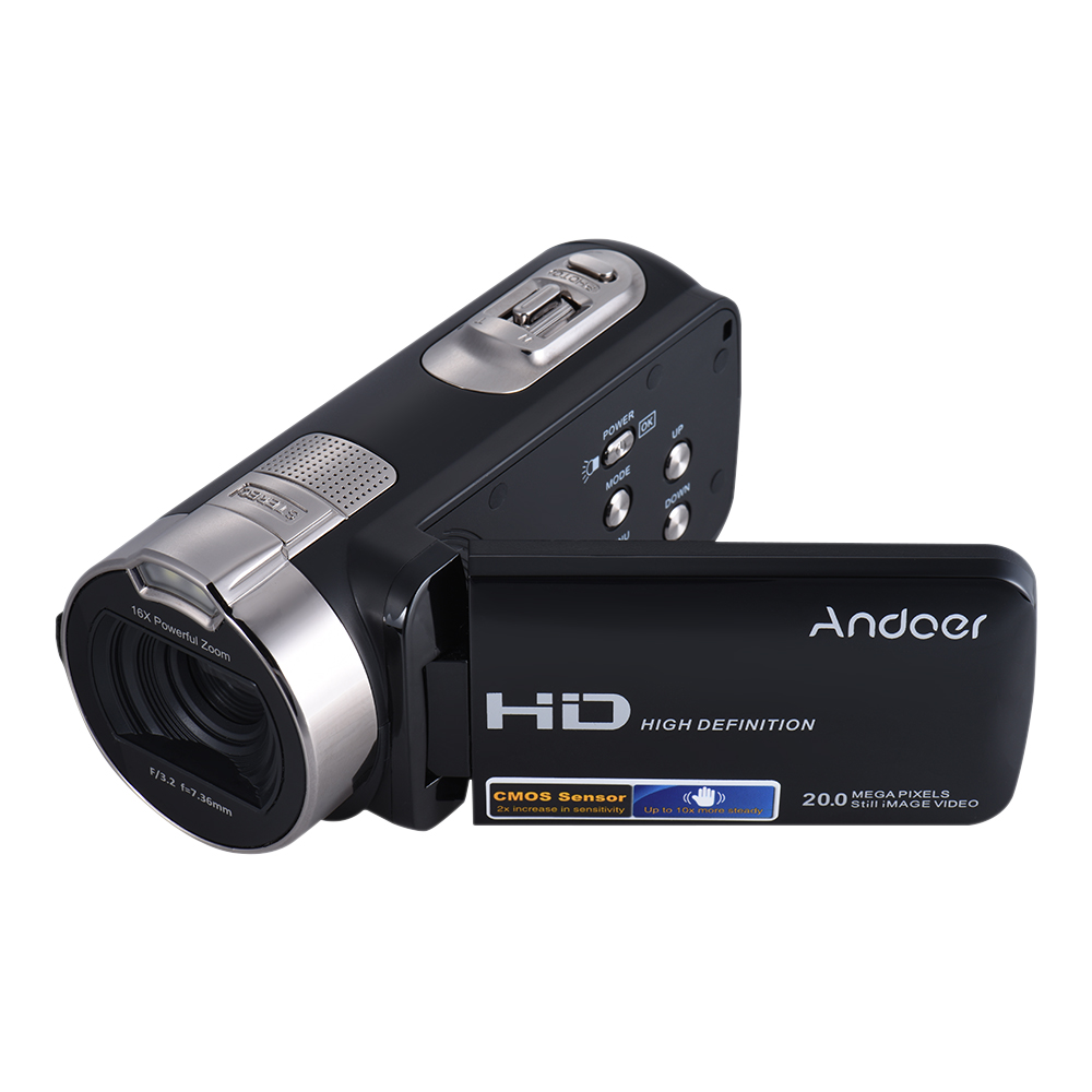 Andoer HDV-312P 1080P Full HD Digital Video Camera Portable Home-use DV with 2.7 Inch Rotating LCD Screen Max. 20 Mega Pixels 16× Zoom