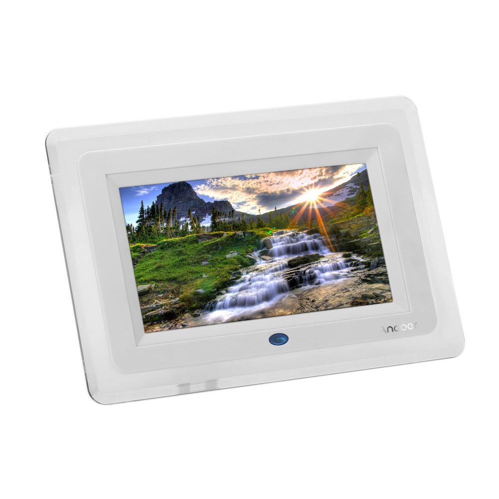 7 39 39 hd tft lcd digitaler bilderrahmen wecker mp3 mp4 video player mit licht remote desktop wei. Black Bedroom Furniture Sets. Home Design Ideas