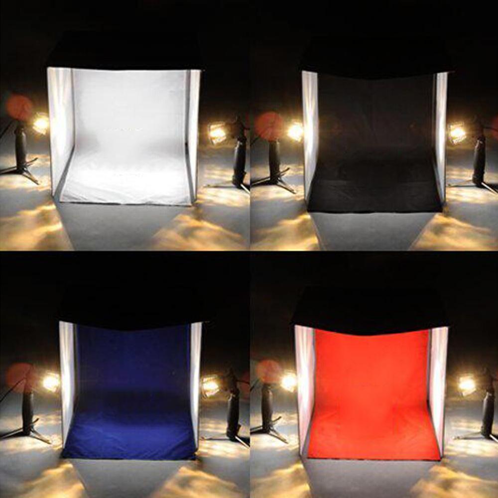 40cm / 16  Photo Studio Square Light Tent Kit Folding Square Light Tent + 50W Halogen L&s (EU Plug) + Rotatable Ball Head Copy Stand + 4 Colors Backdrops ... & 40cm / 16