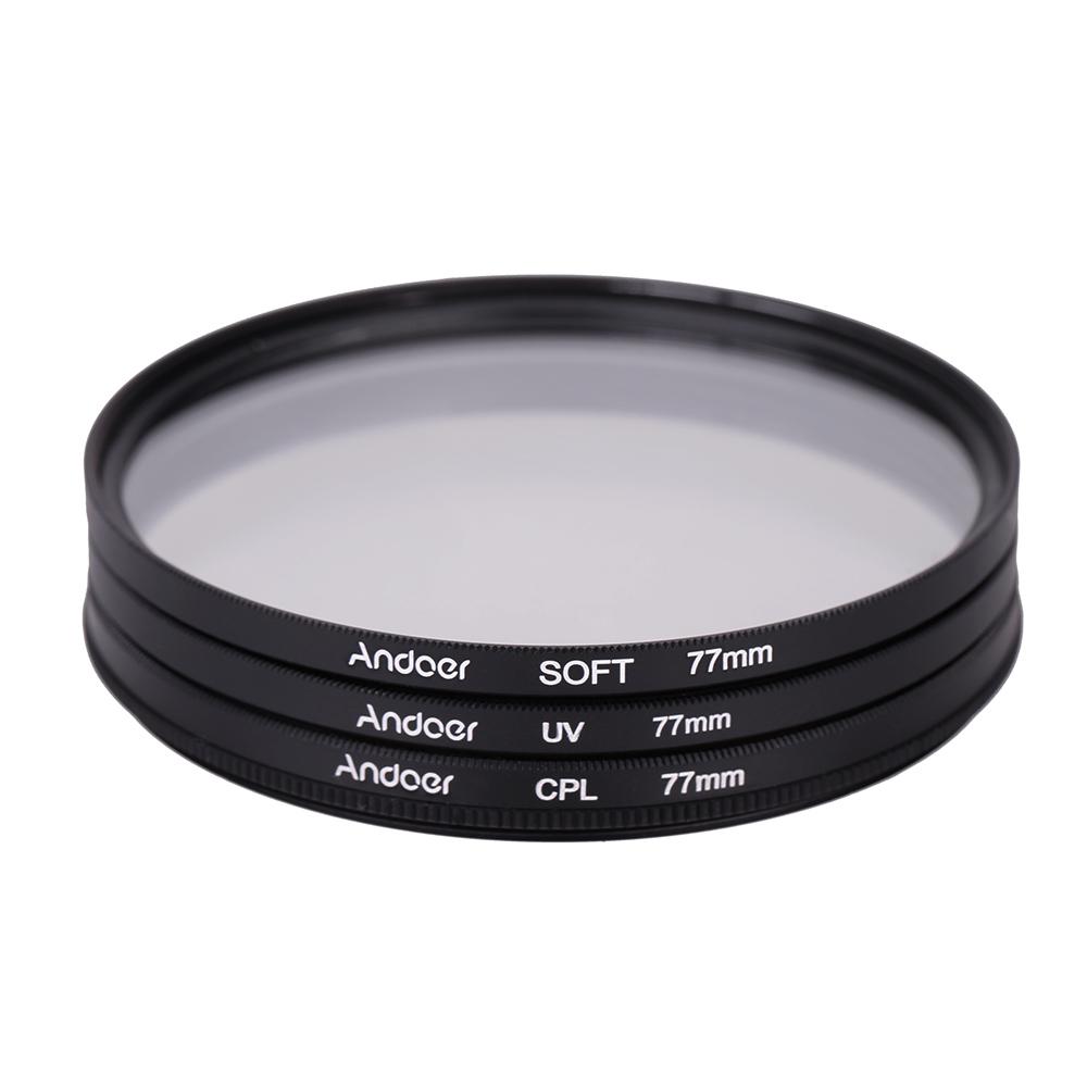 Andoer 77mm UV+CPL+SOFT Circular Filter Kit Circular ...