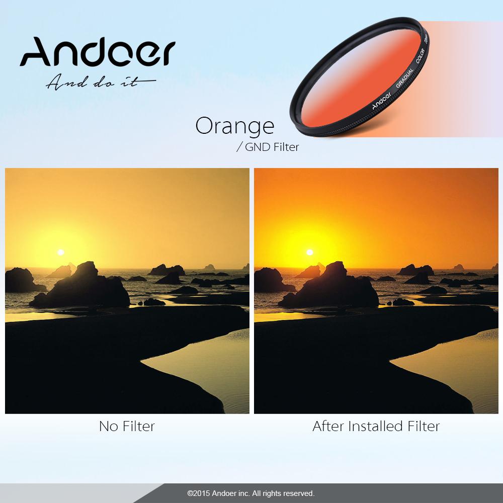 Andoer GND Graduated Orange 58mm Filter Neutral Density For Canon Nikon DSLR Camera Lens Deals