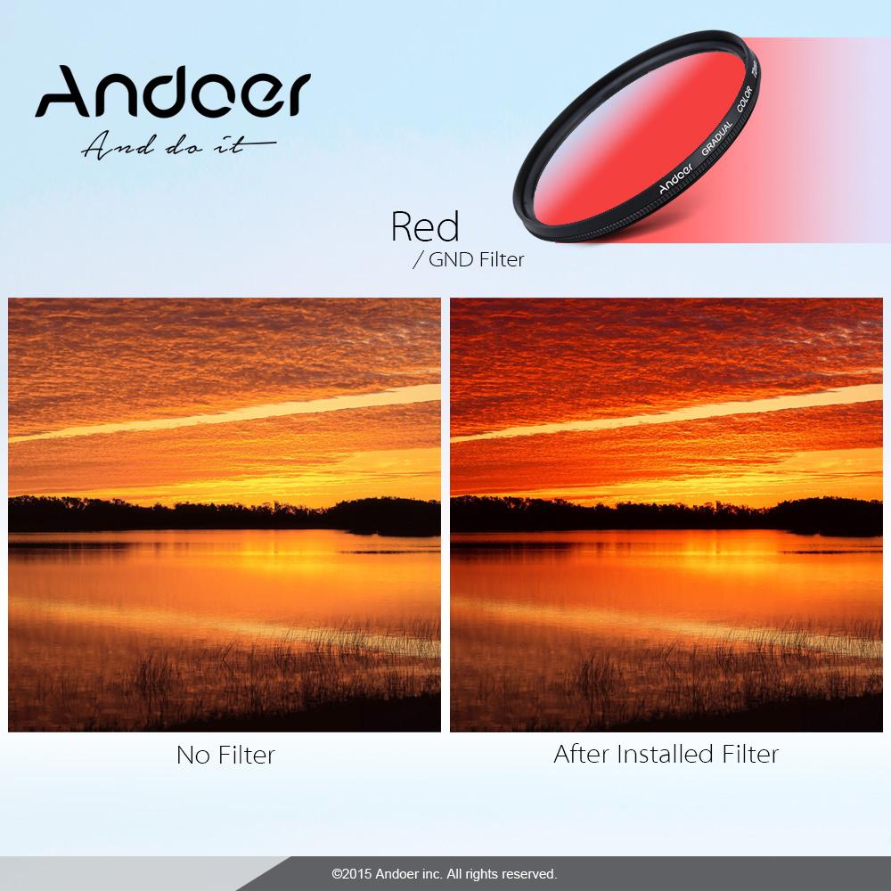 Andoer GND Graduated Red 58mm Filter Neutral Density For Canon Nikon DSLR Camera Lens