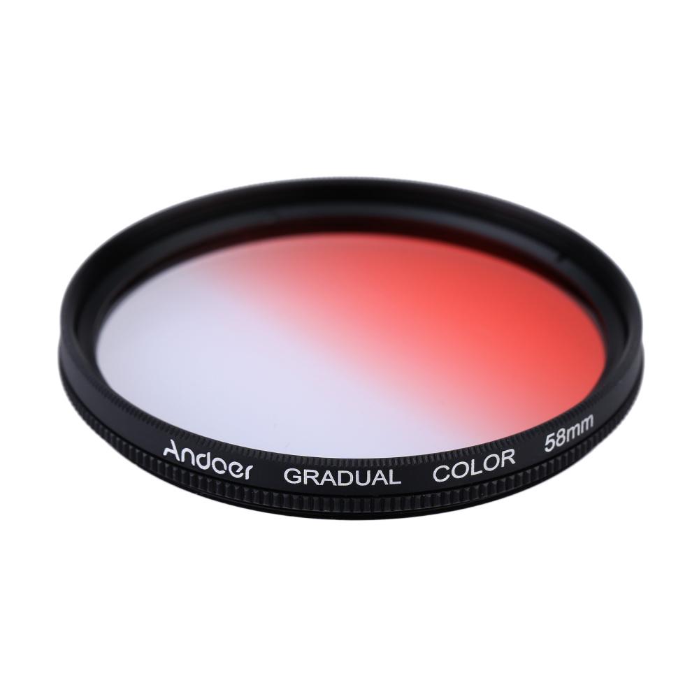 Andoer GND Graduated Red 58mm Filter Neutral Density For Canon Nikon DSLR Camera