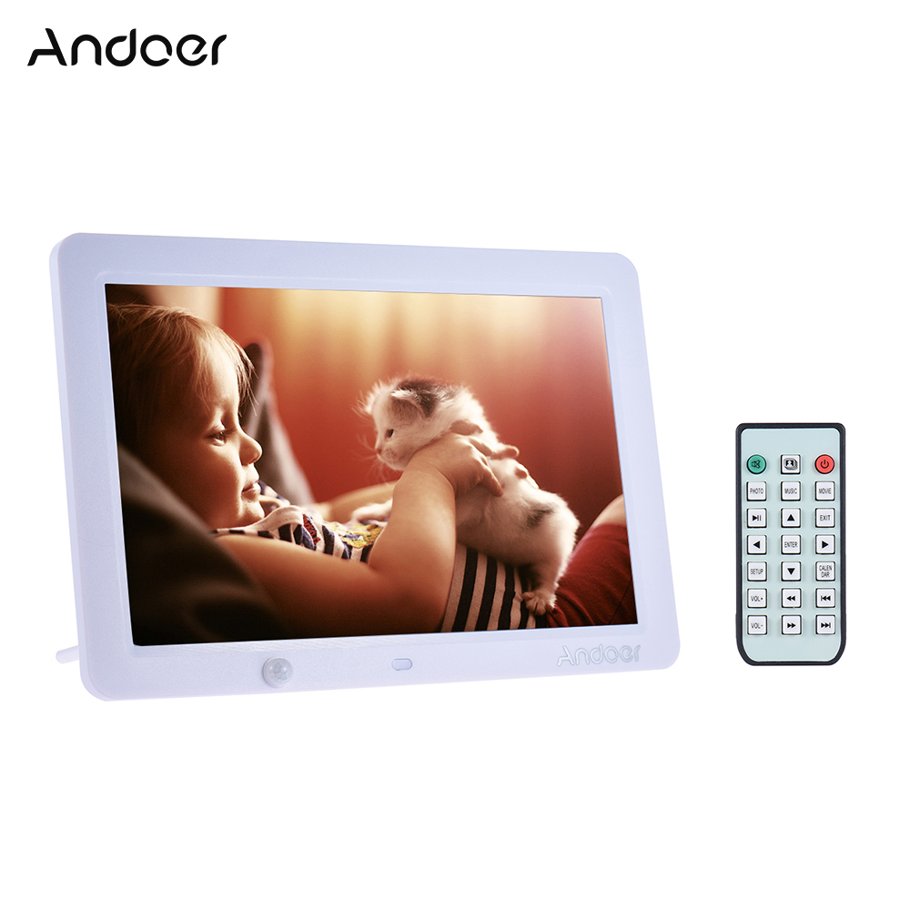 Andoer 12 Inch Led Digital Photo Frame 1280 800 Human Motion Induction Detection With Remote Control Support Mp3 Mp4 Calendar Alarm Clock Function Christmas Gift