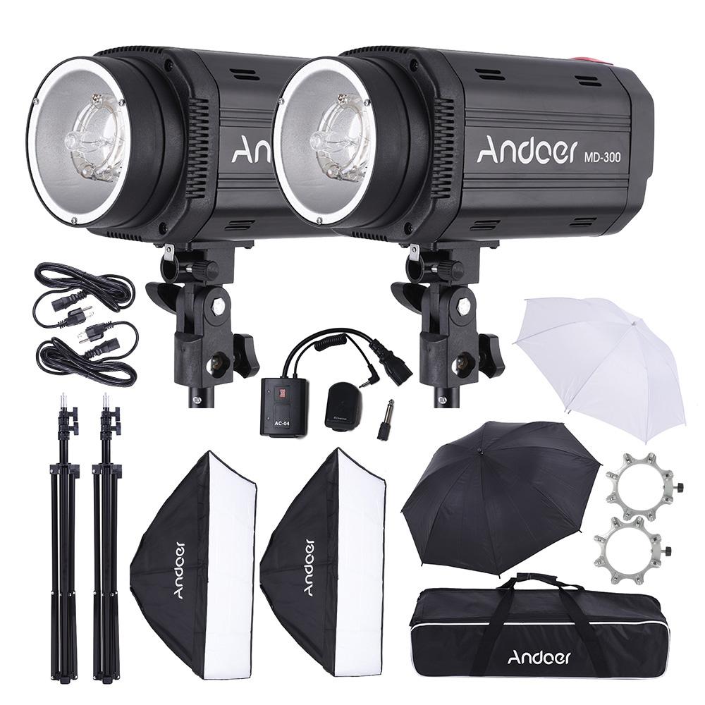 Studio 600w300w2Photo Lighting 300 Monolight Andoer Md Stand Lambency Strobe Flash With Kit Light Trigger Unbrella Softbox Y6b7yfg