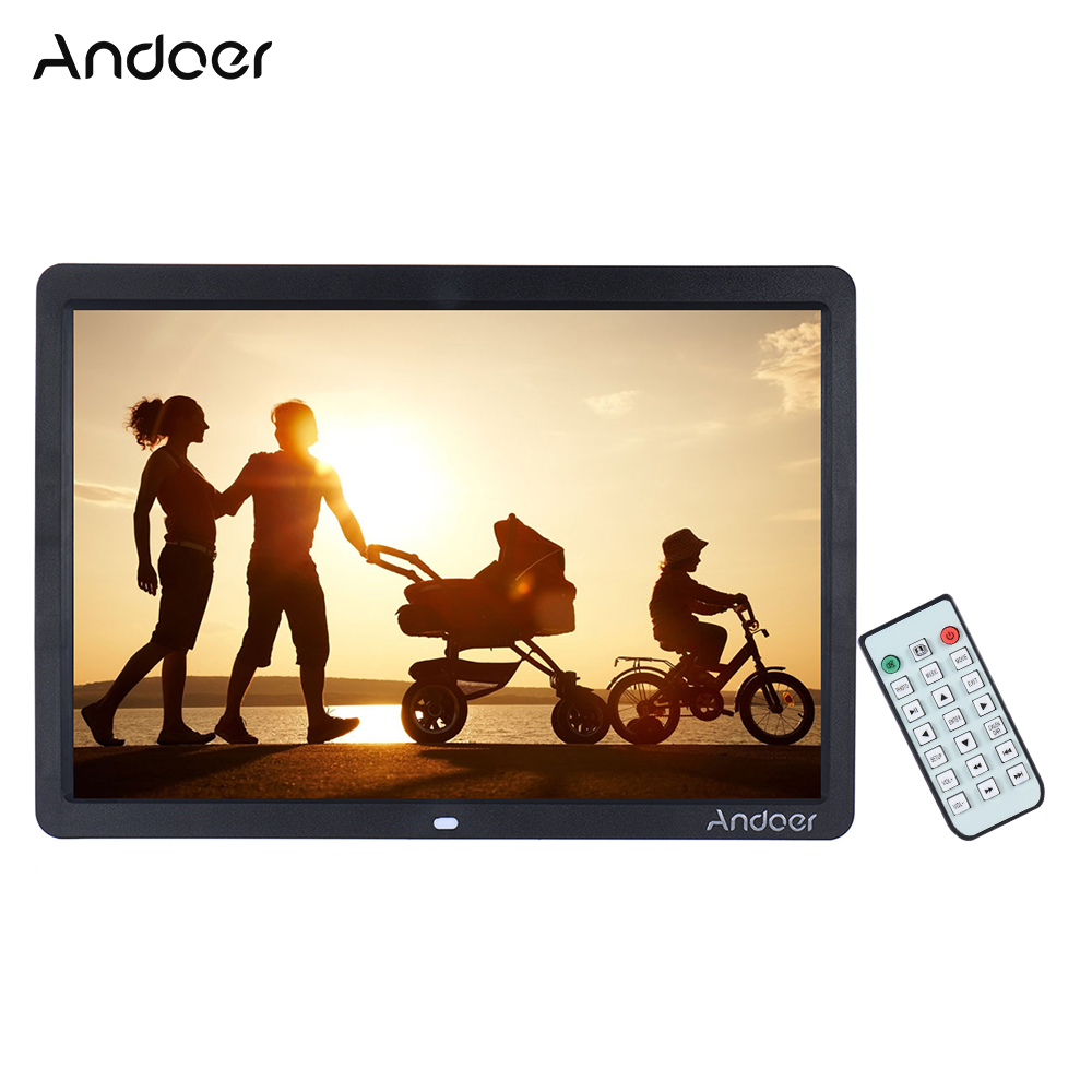 Andoer 15 Wide Screen Hd Led Digital Picture Frame Digital Album High Resolution 1280 800 Electronic Photo Frame With Remote Control Multiple Functions Including Led Clock Calendar Mp3 Mp4 Movie Player Support Multiple Languages