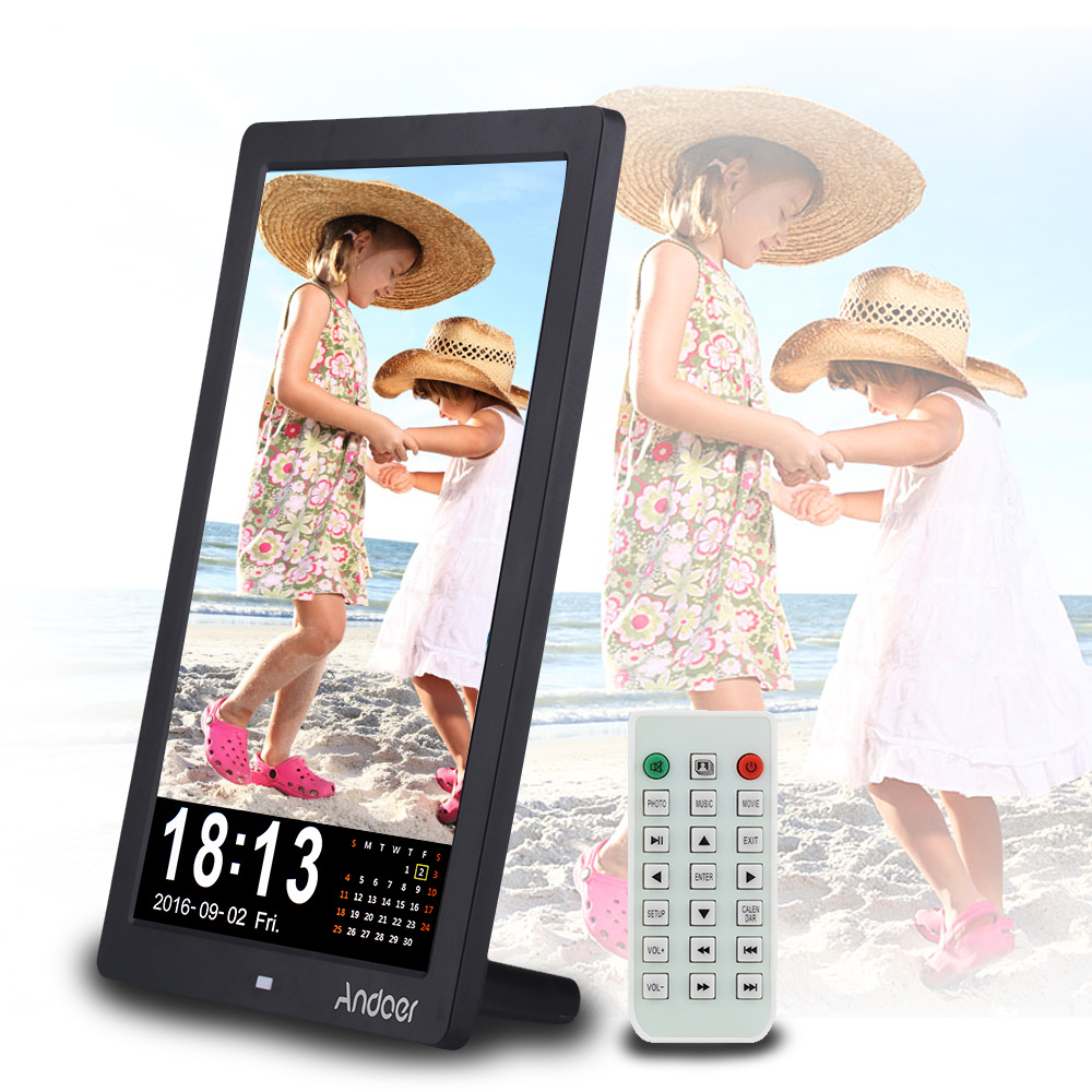 Andoer 12 Led Hd Digital Photo Picture Frame 1280 800 Desktop Frame Support Mp3 Mp4 E Book Calender Alarm Clock Function With Remote Control Christmas Gift
