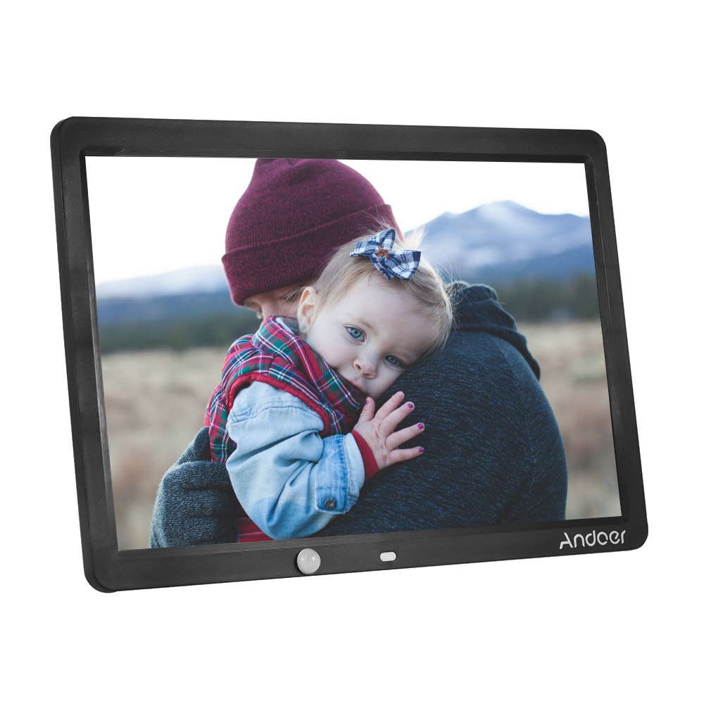 Andoer andoer 15 inch large screen led digital photo frame album wall mountable desktop 1280 800 support remote control with motion detection sensor jeuxipadfo Gallery