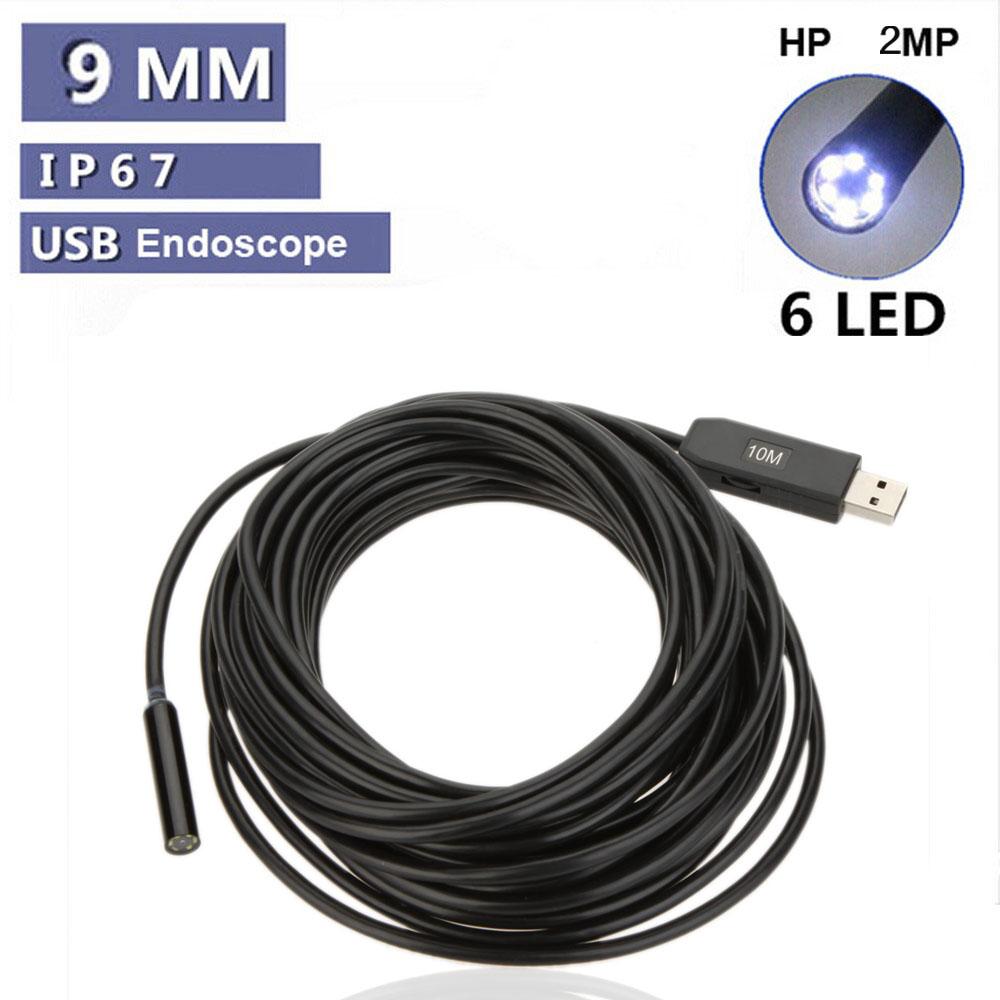 2MP Waterproof 9mm USB Inspection Camera Borescope Endoscope Snake ...