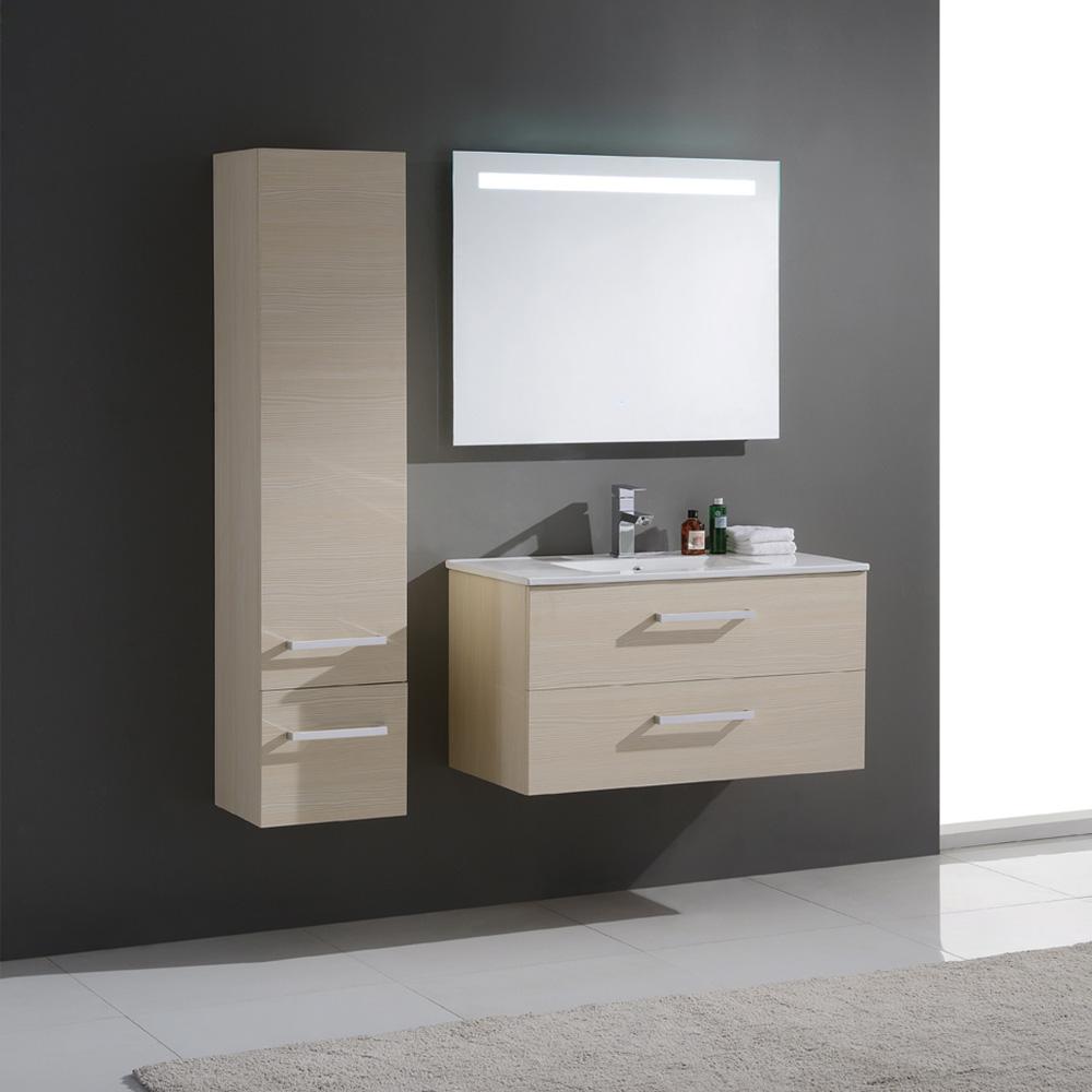ensemble de salle de bain en bois massif et mdf avec simple vasque coloris bouleau. Black Bedroom Furniture Sets. Home Design Ideas