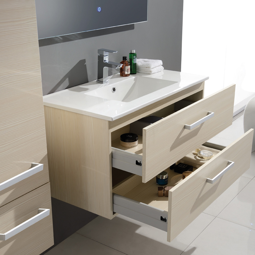 Ensemble de salle de bain en bois massif et mdf avec for Ensemble salle de bain bois