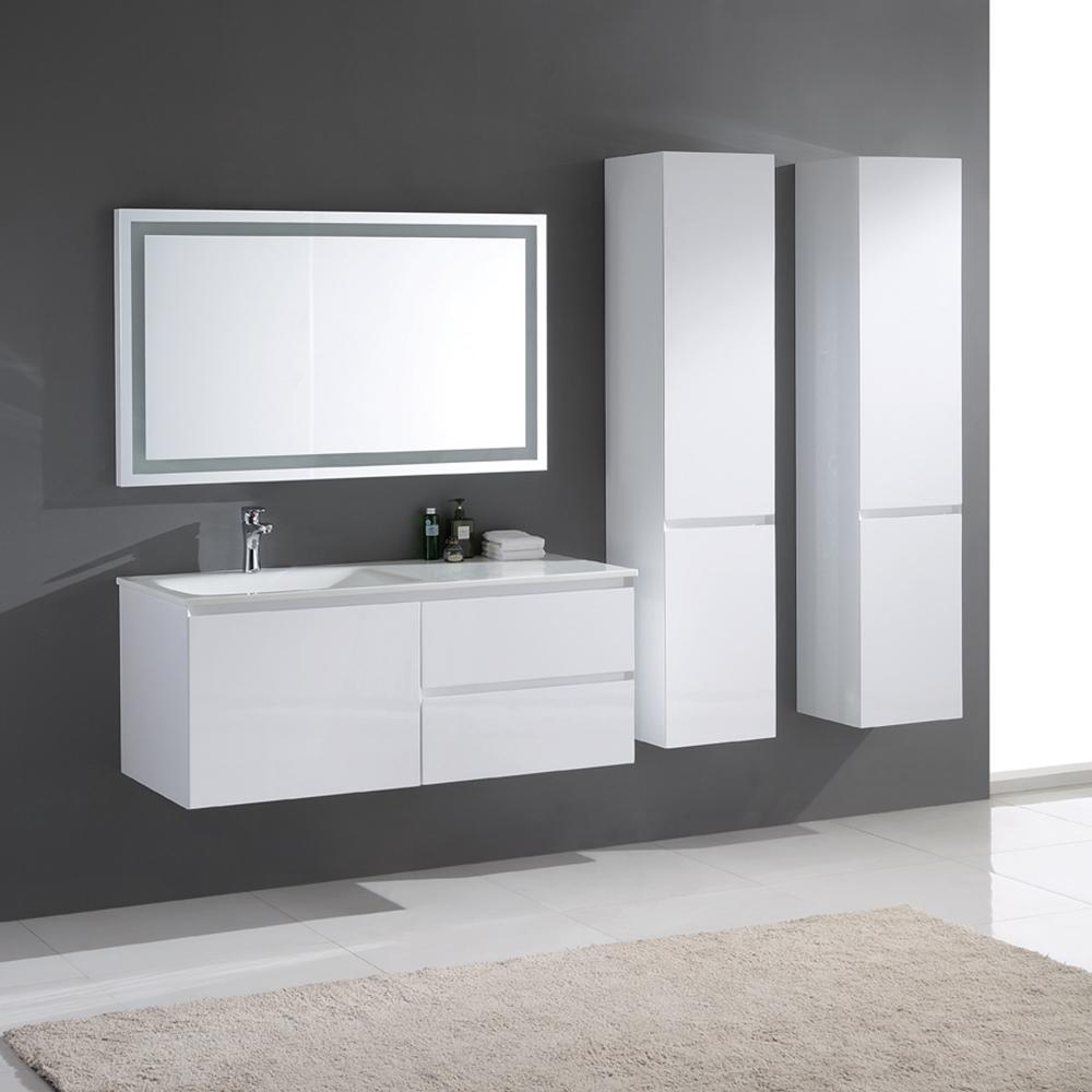 meuble de salle de bain simple vasque en bois massif et mdf coloris blanc laqu brillant. Black Bedroom Furniture Sets. Home Design Ideas