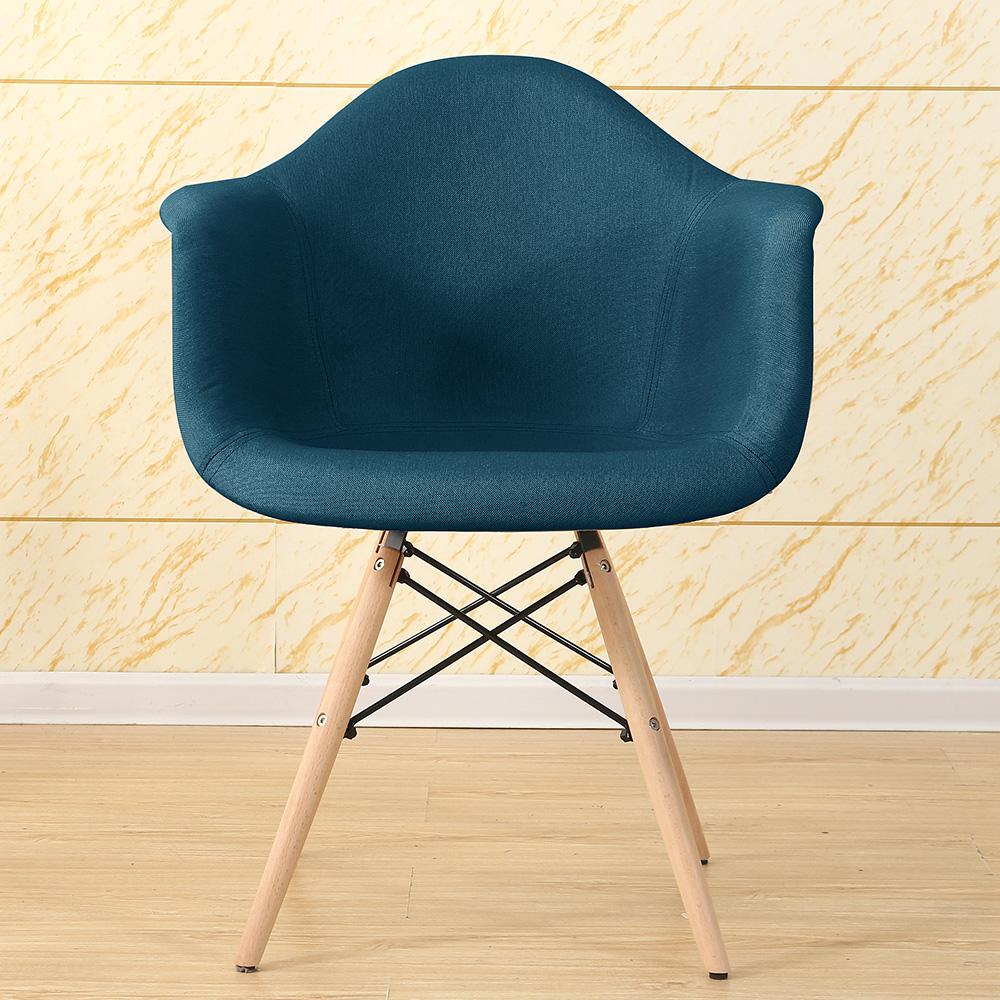 fauteuil design en tissu et pieds en bois bleu. Black Bedroom Furniture Sets. Home Design Ideas