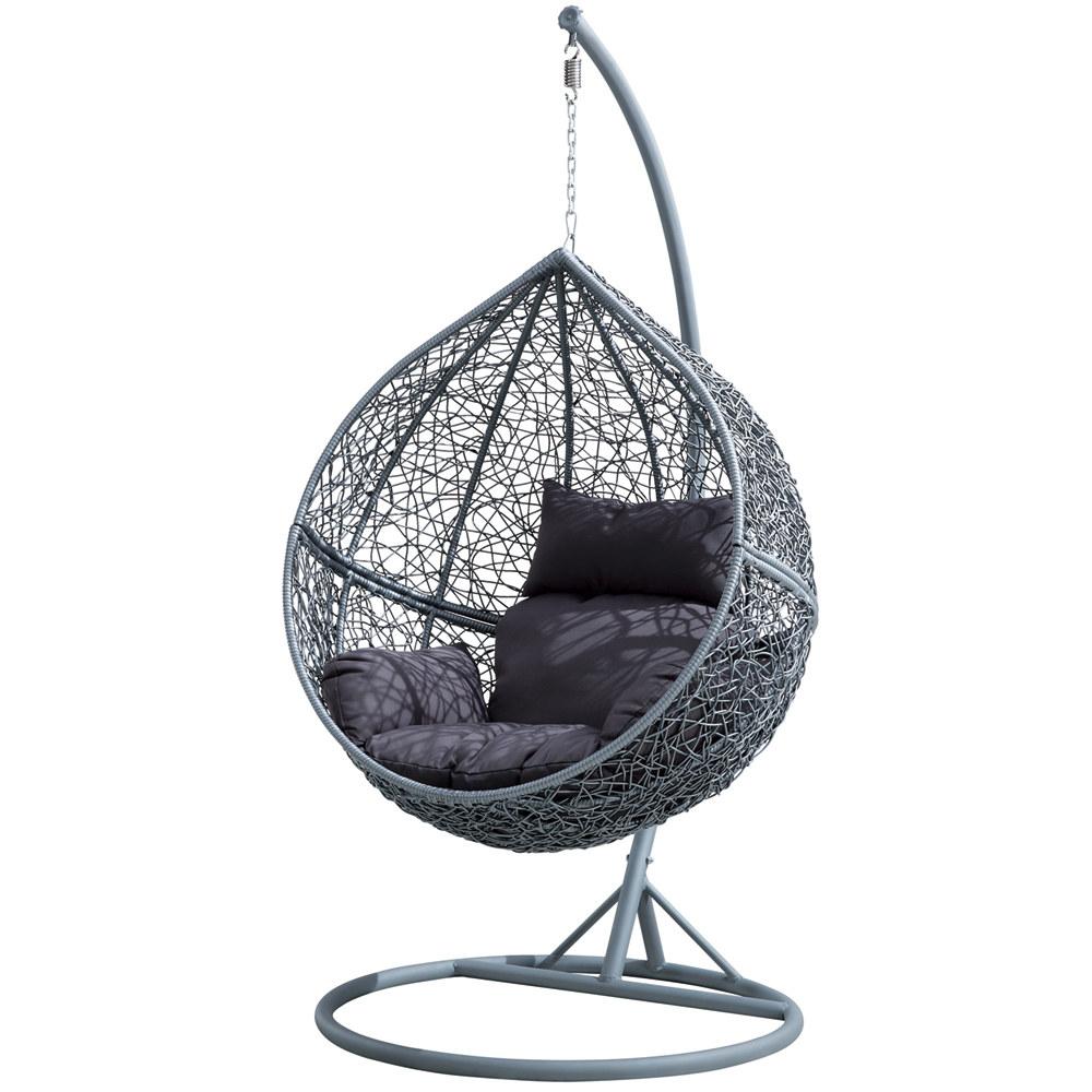 d s fauteuil suspendu de jardin en r sine tress e grise jupiter. Black Bedroom Furniture Sets. Home Design Ideas