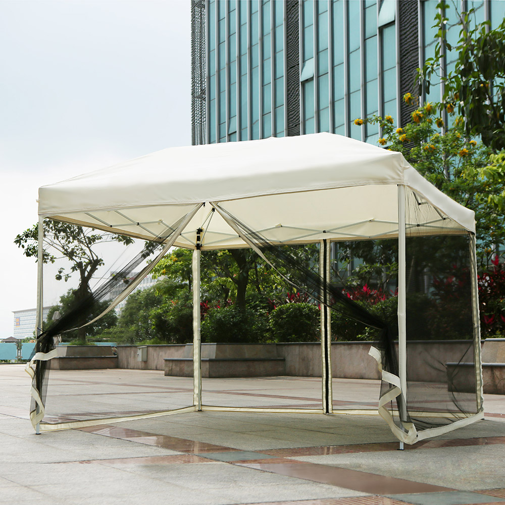 iKayaa 3*3*2.6M Folding Outdoor Patio Canopy Gazebo Tent & beige iKayaa 3*3*2.6M Folding Outdoor Patio Canopy Gazebo Tent ...