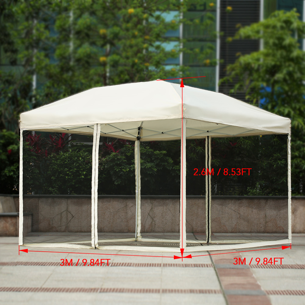 iKayaa 3*3*2.6M Folding Outdoor Patio Canopy Gazebo Tent & beige iKayaa 3*3*2.6M Folding Outdoor Patio Canopy Gazebo Tent ...