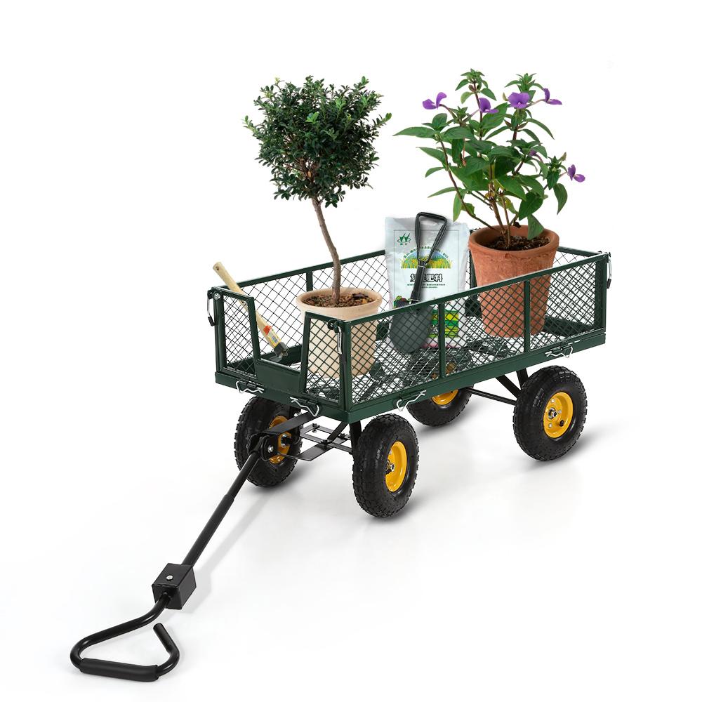IKayaa Heavy Duty Steel Garden Wagon Trolley Cart