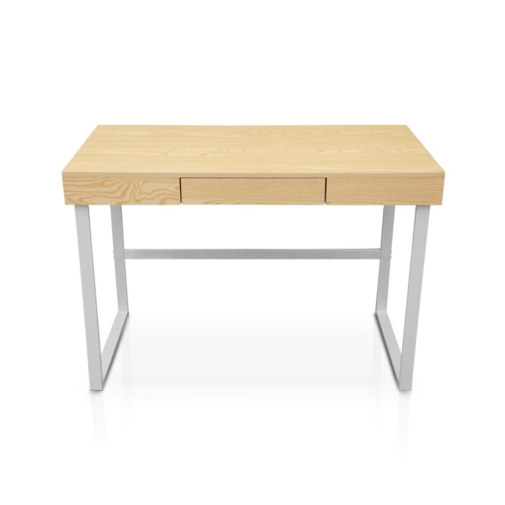 wood iKayaa Modern Metal Frame Computer Desk Table with Drawer ...