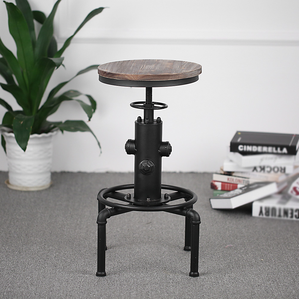 wood iKayaa Bar Stool Height Adjustable Swivel Pinewood Top Kitchen ...