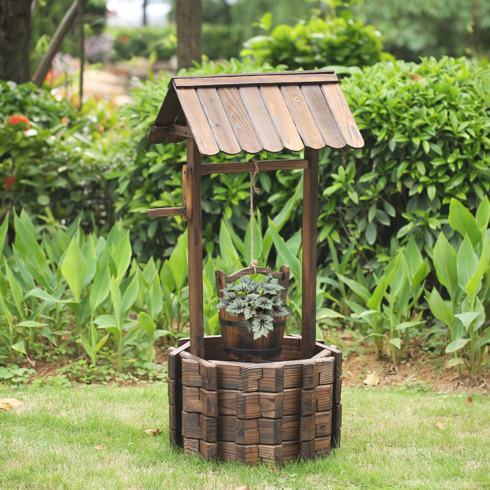 wood ikayaa wooden wishing well patio garden planter lovdock com