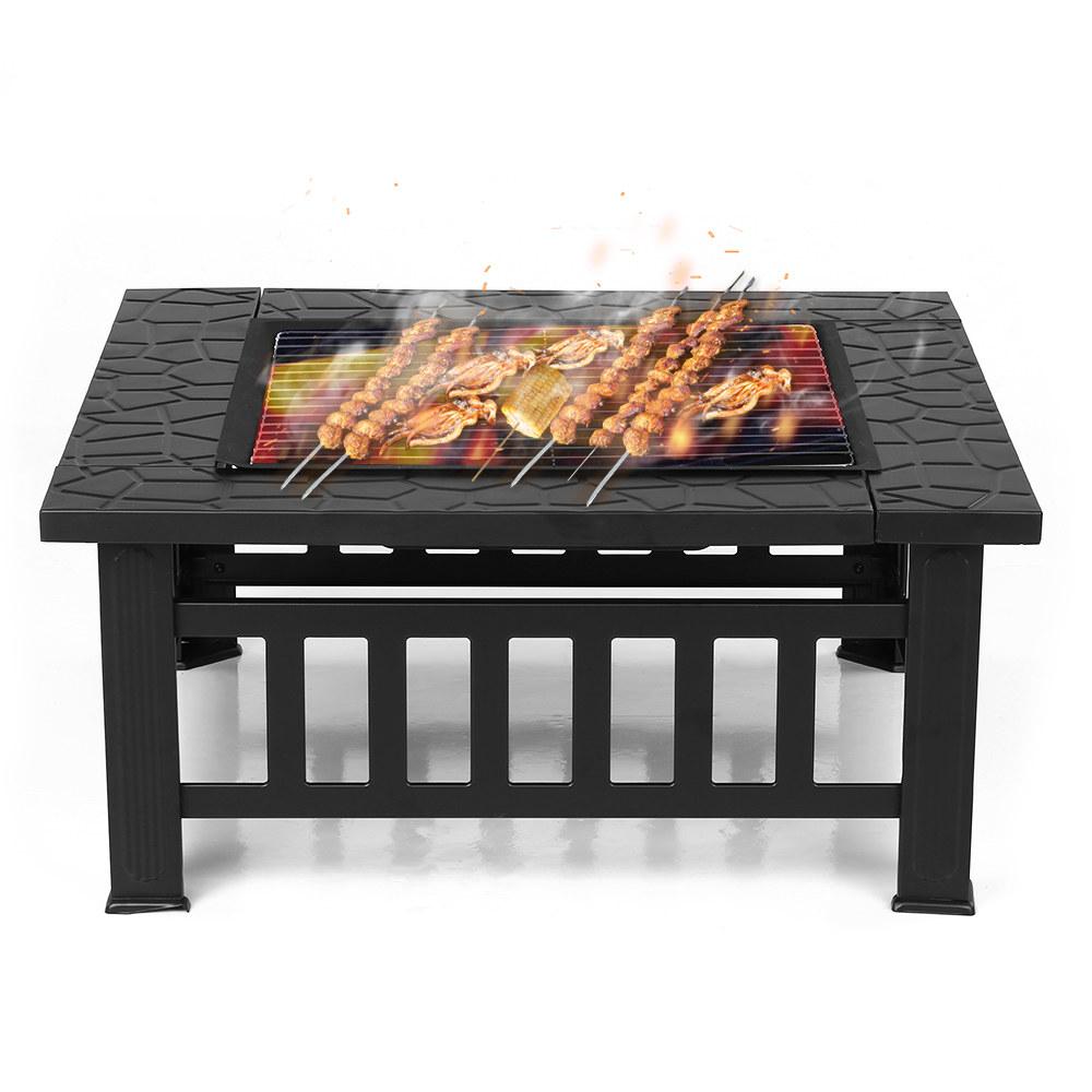 Brasero Barbecue Carre 81cm A Charbon Cheminee De Jardin A