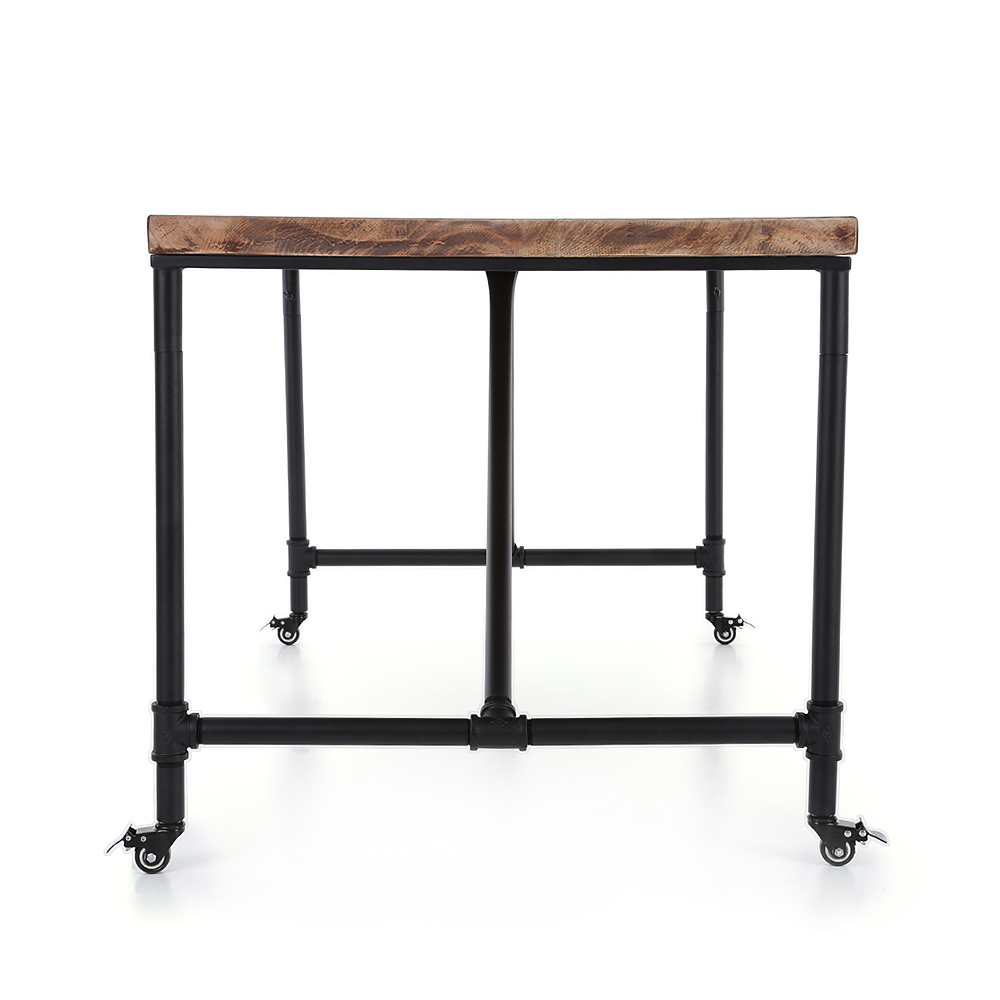 table manger style industriel 150cm 6 couverts plateau pin et pieds roulettes. Black Bedroom Furniture Sets. Home Design Ideas