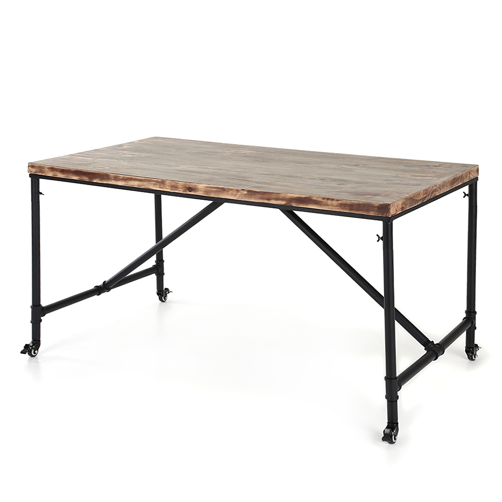 Table manger industrielle en bois de pin pour 6 personnes for Dimension table 6 personnes