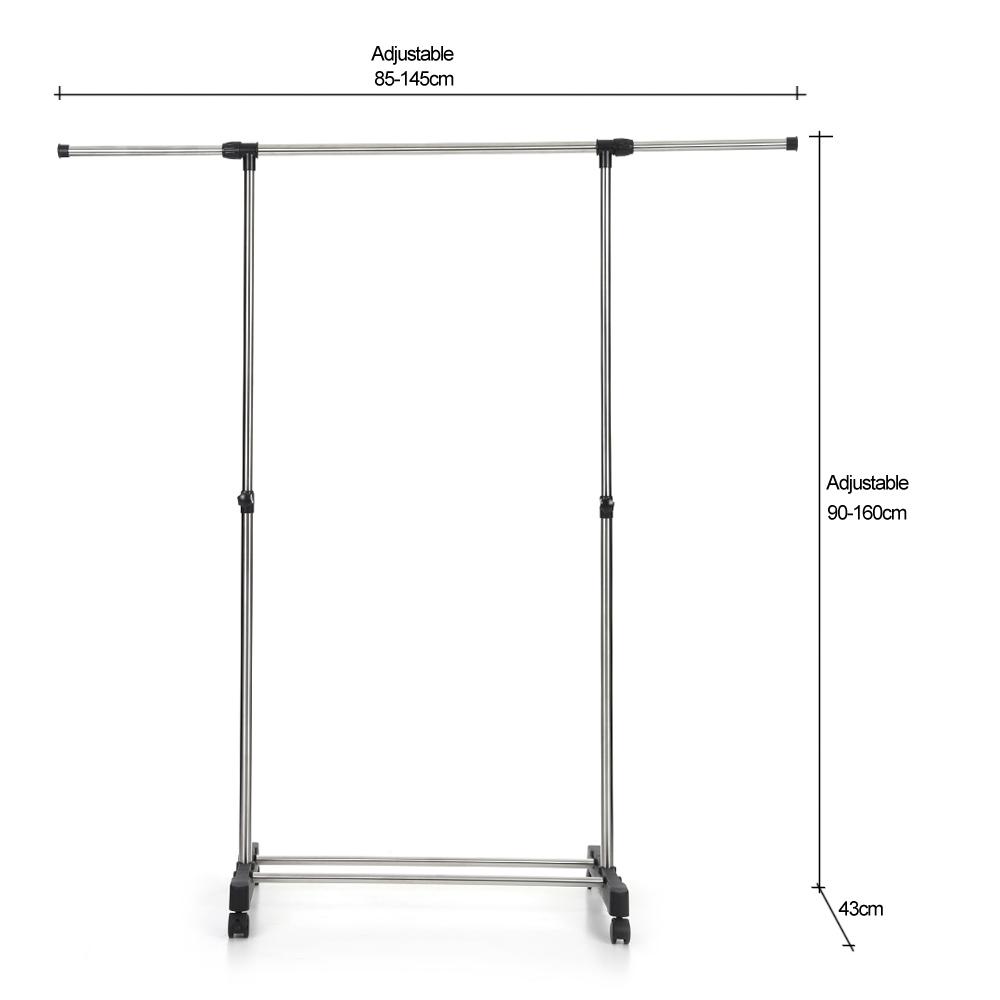 Silver IKayaa Metal Adjustable Clothes Garment Coat Rack