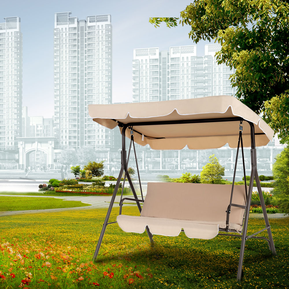 iKayaa 3 Seat Outdoor Garden Patio Swing Chair with Canopy & sand iKayaa 3 Seat Outdoor Garden Patio Swing Chair with Canopy ...