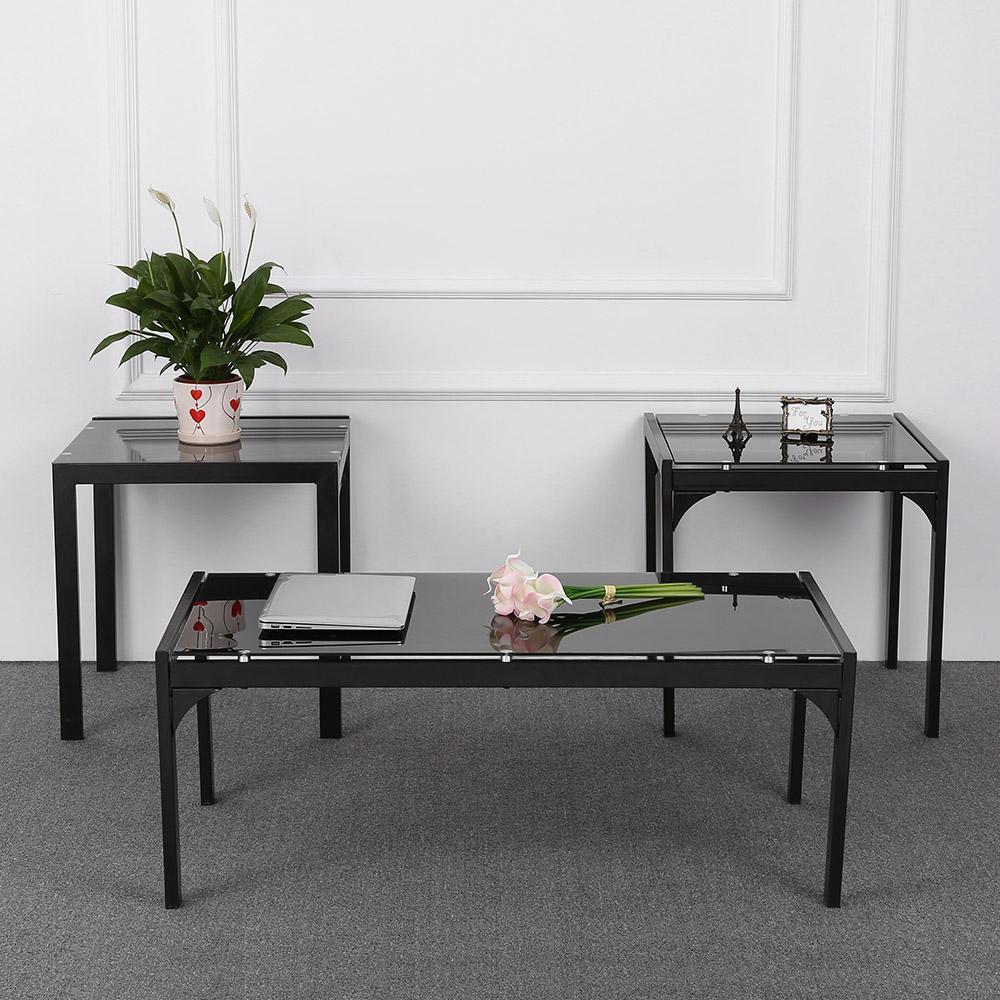 Entzuckend IKayaa Moderne Und Stilvolle Metallrahmen Kaffeetisch Mit 2 End  Beistelltisch Wohnzimmer Cocktail Tisch Set