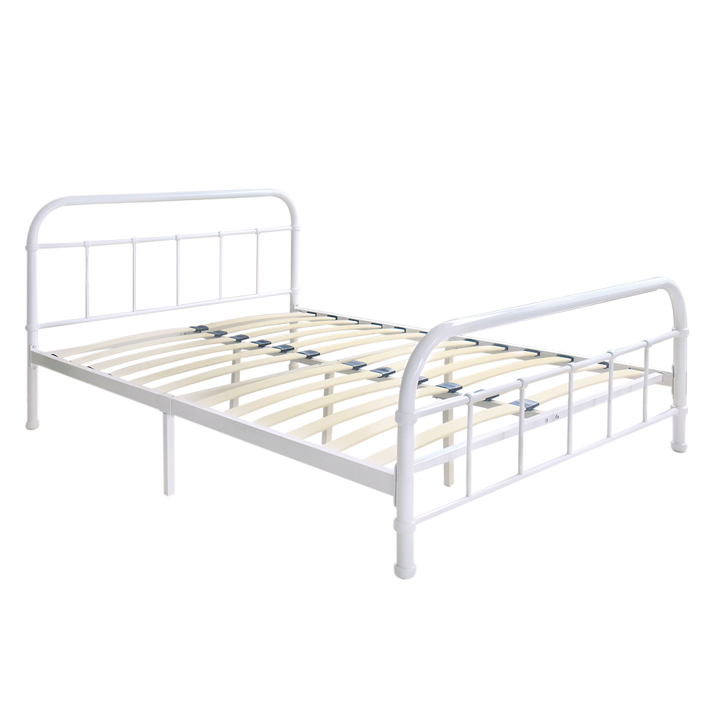 white #4 iKayaa Metal Platform Bed Frame With Wood Slats California ...
