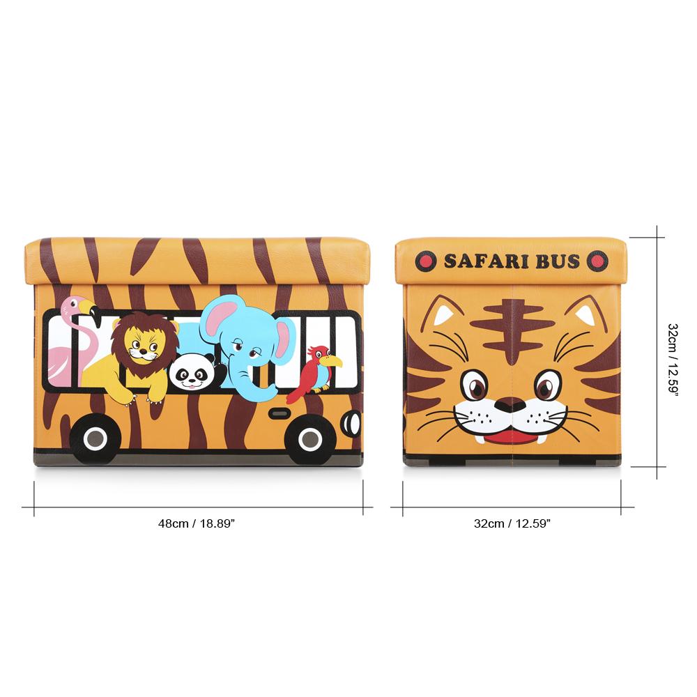Super Orange Ikayaa Cute Kids Foldable Storage Box Ottoman Lovdock Com Machost Co Dining Chair Design Ideas Machostcouk