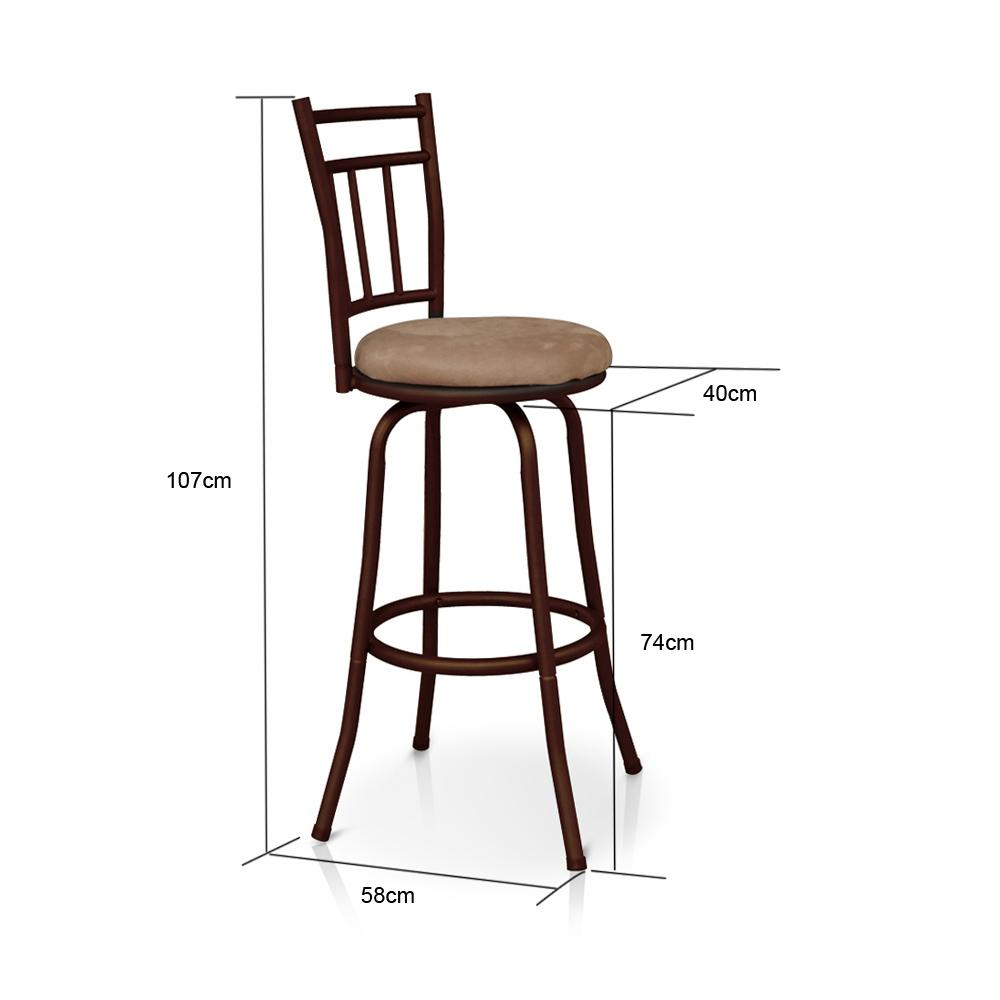 ikayaa antique pivotant tabouret de barres avec dossier cadre en m tal cuisine chaise de salle. Black Bedroom Furniture Sets. Home Design Ideas