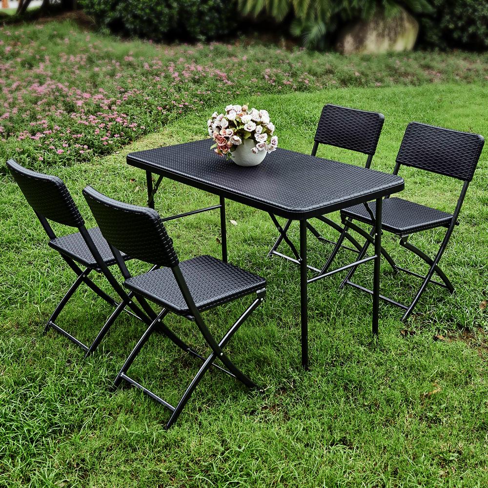 Lot de 2 chaises pliantes de jardin iKayaa noir style résine tressée