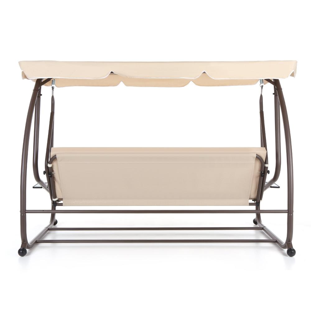 IKayaa Modern Outdoor Patio Garden Swing Chair With Canopy
