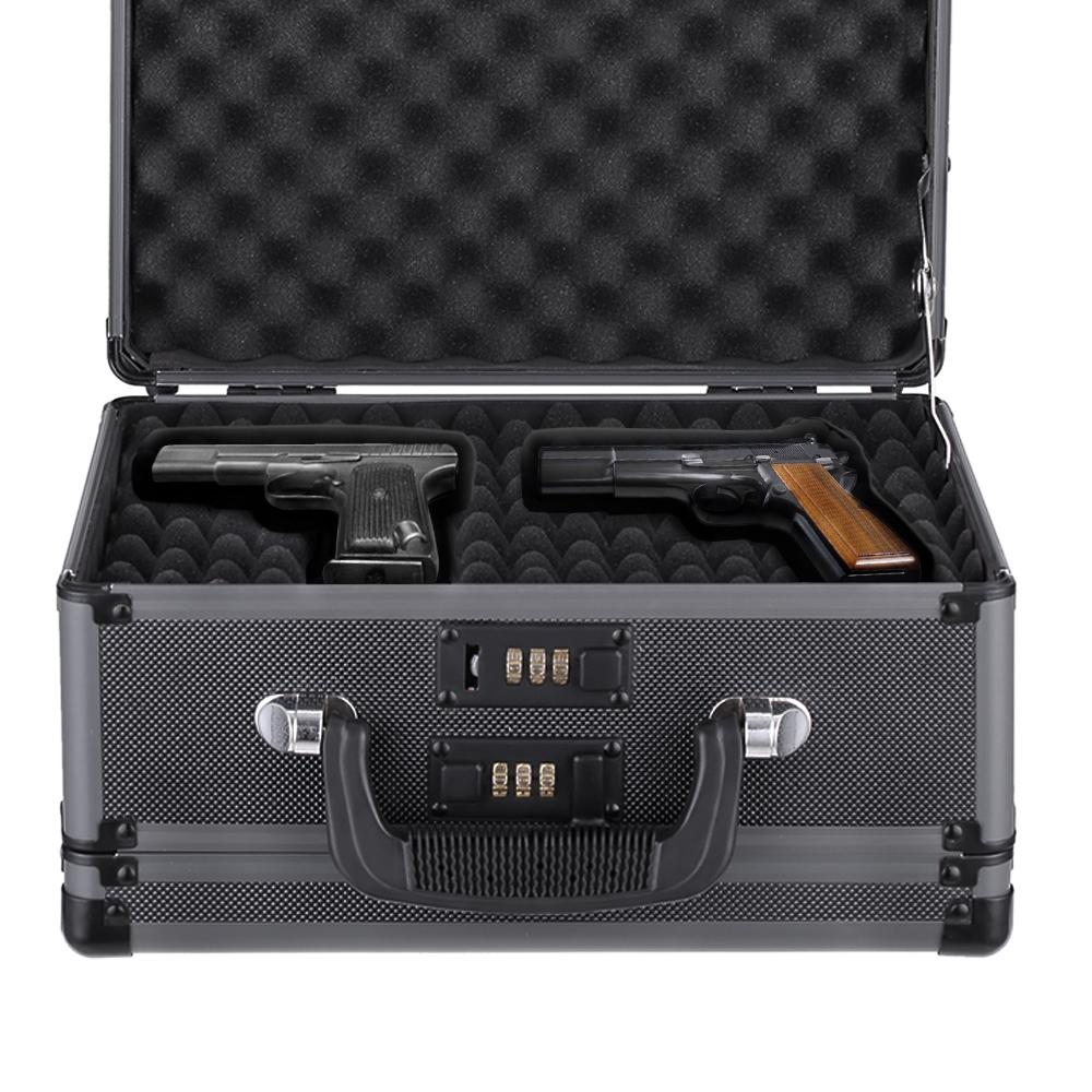 black iKayaa Double Sided Aluminum Hard Gun Case - LovDock.com