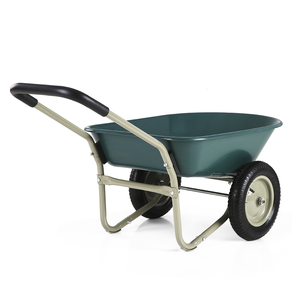 IKayaa Dual Wheel Yard Wheelbarrow Garden Utility Dump Cart