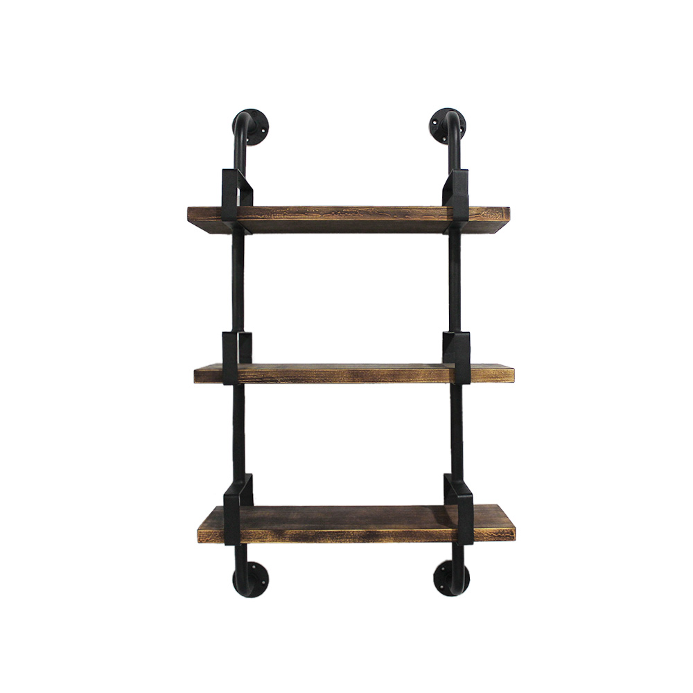 Wood ikayaa 3 tier rustic industrial iron pipe wall shelf ikayaa 3 tier rustic industrial iron pipe wall shelf amipublicfo Image collections