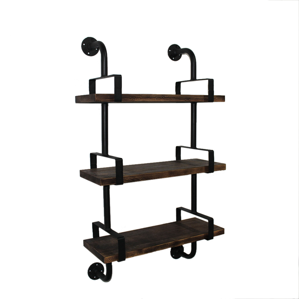 wood ikayaa 3 tier rustic industrial iron pipe wall shelf. Black Bedroom Furniture Sets. Home Design Ideas