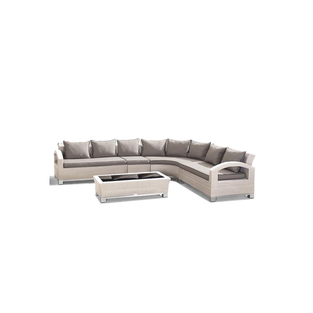 Nur 1,041.00€, Salon de jardin RILASA: 2 Canapé bras+canapé central+canapé  d\'angle+table basse en résine tressée Réf: HS3612 - Interouge
