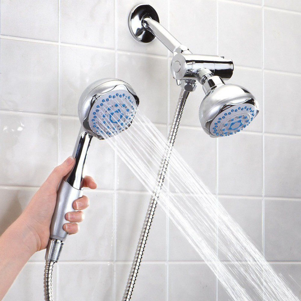 silver Bathroom Wall-mounted Dual Head 2 in 1 Bath Shower Spray ...