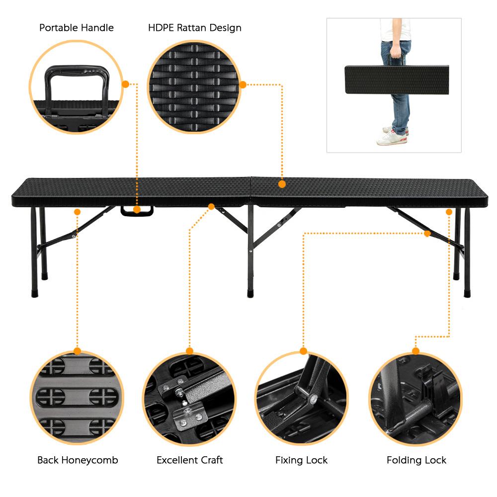 IKayaa 6FT Long Portable Folding Camping Picnic Bench