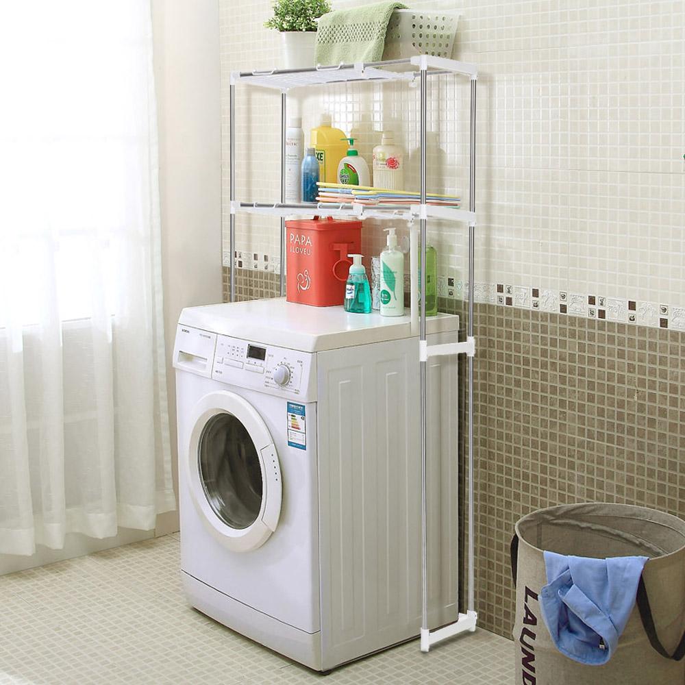 silver iKayaa Steel 2-layer Metal Bathroom Space Saver Shelf ...