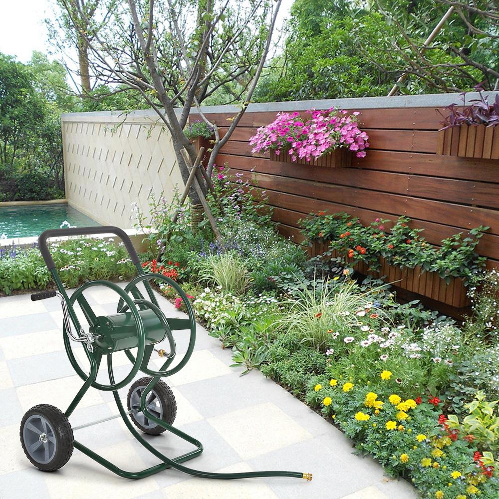 IKayaa 200 Feet Steel Frame Garden Hose Reel Cart